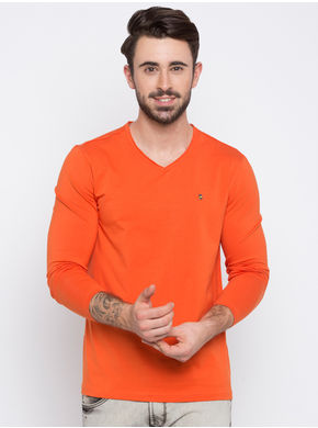 Spykar Solid Slim V-Neck T-Shirts, l,  orange