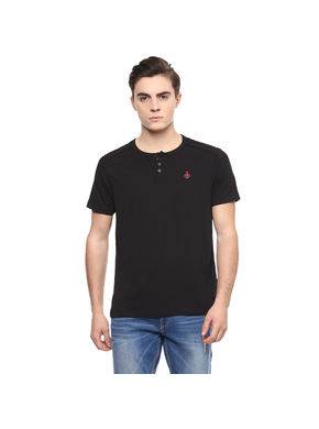 Solid Henley T-Shirt,  black, xl