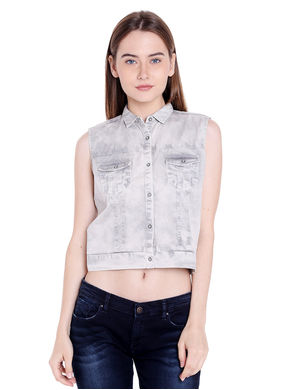Denim Collar Top, xxl,  ecru