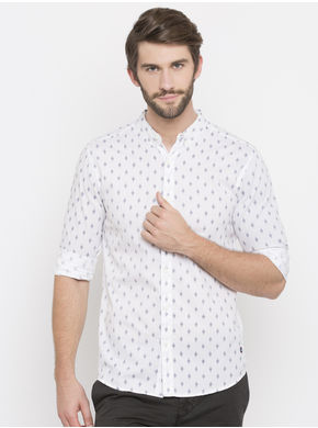 Spykar Printed Slim Fit Shirts, xl,  white