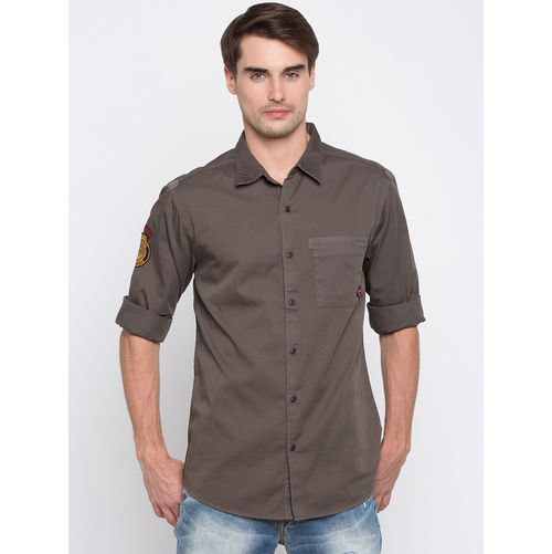 Spykar Solid Slim Regular Collar Fit Shirts