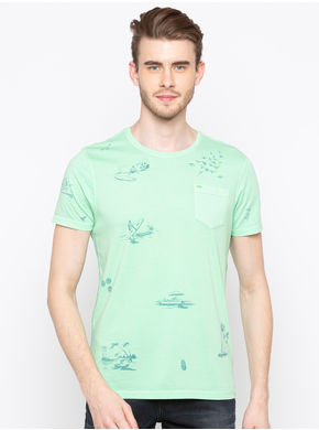 Spykar Round Neck Dyed Slim Fit T-Shirts, l,  green