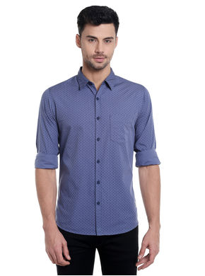 Print Cut Away Slim Fit Shirt,  grey, l