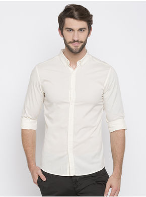 Spykar Solid Slim Fit Shirts, l,  ecru