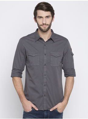 Spykar Solid Slim Regular Fit Shirts, m,  grey