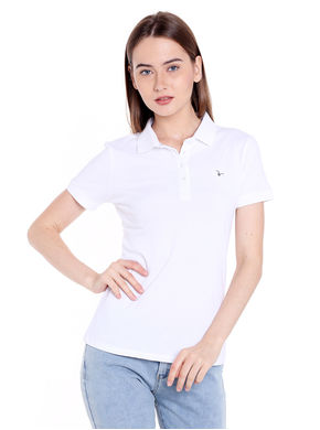 Solid Polo Collar T-Shirt,  white, s
