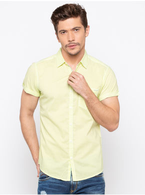 Spykar Regular Collar Prints Slim Fit Shirts,  lime, xl