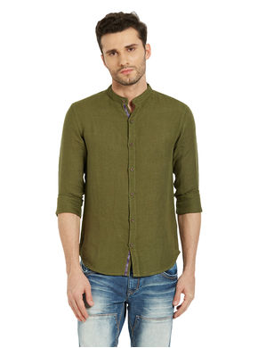 Solid Shirt In Slim Fit,  green, s