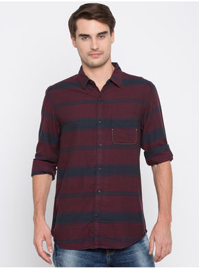 Spykar Stripes Slim Fit Shirts,  maroon, l