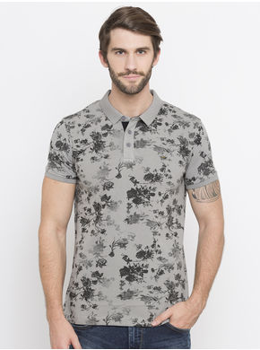 Spykar Prints Slim Fit T-Shirts,  cement, xl