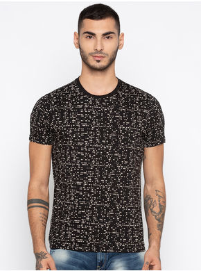Spykar Printed Slim Fit T-Shirts, l,  black