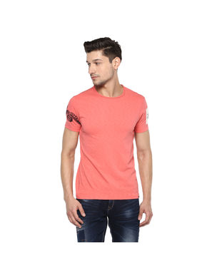 Solid Round Neck T-Shirt, m,  coral