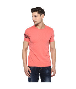 Solid Round Neck T-Shirt, 2xl,  coral
