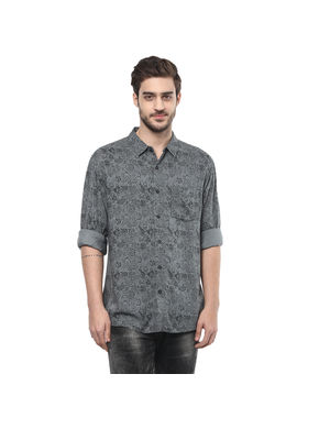 Print Cut Away Slim Fit Shirt,  cement, l
