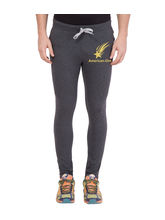 American-Elm Dark Grey-Golden Star Printed Trackpant For Light Workout For Men, xxl