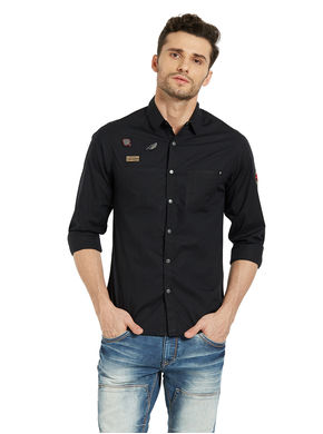 Solid Regular Slim Fit Shirt, l,  charcoal