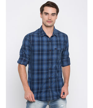 Spykar Checked Slim Fit Shirts, m,  navy