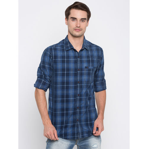 Spykar Checked Slim Fit Shirts