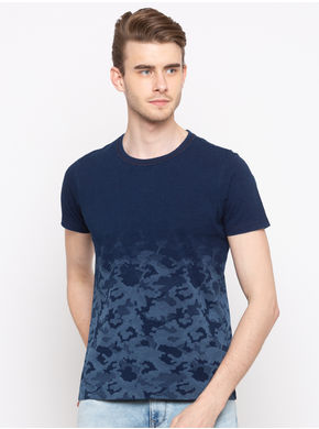 Spykar Round Neck Slim Fit T-Shirts, m,  indigo