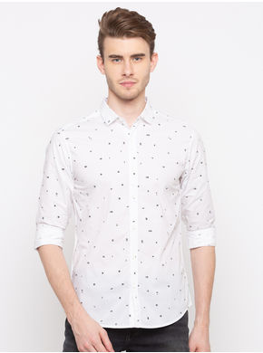 Spykar Regular Collar Prints Slim Fit Shirts, xl,  white