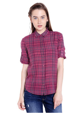 Checks Shirt, m,  maroon