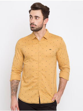 Spykar Printed Slim Fit Shirts, xl,  khaki