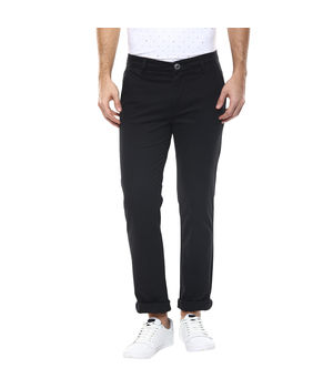 Solid Flat Front Chinos, 32,  black