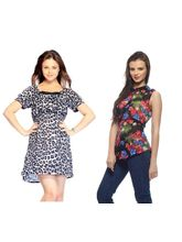 And You Tiger Print and Floral Printed Dress & Top, s