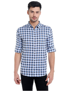 Checks Cut Away Slim Fit Shirt,  light blue/navy, s