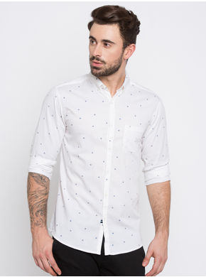 Spykar Printed Regular Slim Fit Shirts, l,  white