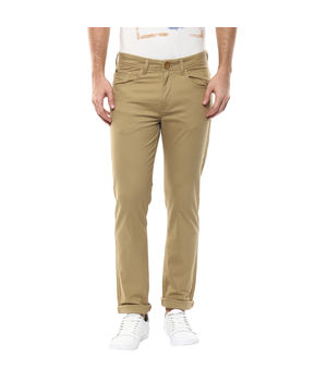 Solid Flat Front Trousers, 34,  khaki