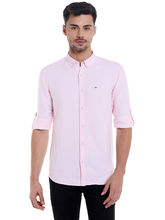 Solid Cut Away Slim Fit Shirt, m, pink