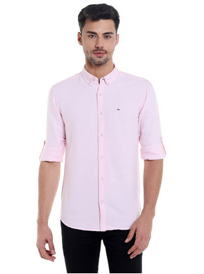 Solid Cut Away Slim Fit Shirt, s,  pink