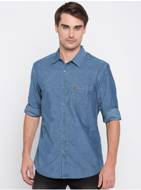 Spykar Faded Slim Fit Shirts, l,  light blue