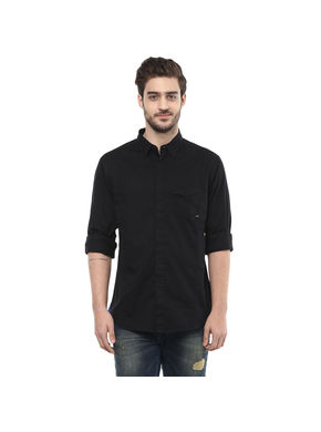 Spykar Solid Regular Shirt, xl,  black