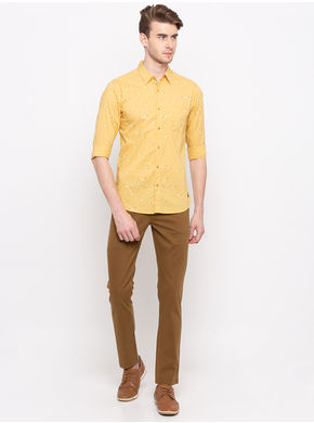 Spykar Regular Collar Slim Fit Shirts,  yellow, l