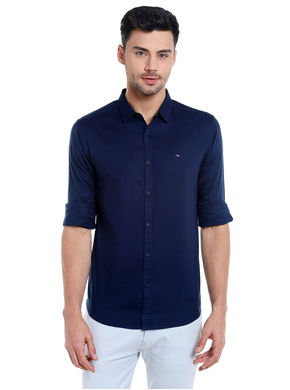 Solid Cut Away Slim Fit Shirt,  navy, m