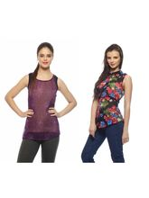And You Black & Purple Printed Women Top, xl