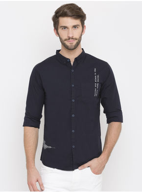 Spykar Printed Slim Fit Shirts, l,  navy
