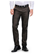 Harvest Brown Poly-Viscose Trouser For Men, 36