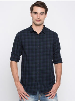 Spykar Checks Slim Fit Shirts,  navy, m