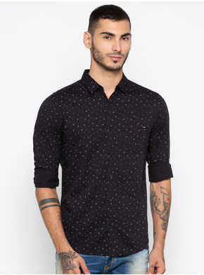 Spykar Printed Slim Fit Shirts, l,  black