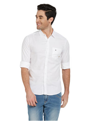 Solid Shirt In Slim Fit,  white, 2xl