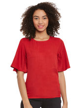 Femella Red Top With Flared Sleeves, xs