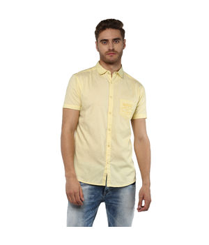 Solid Regular Shirt, m,  butter yellow