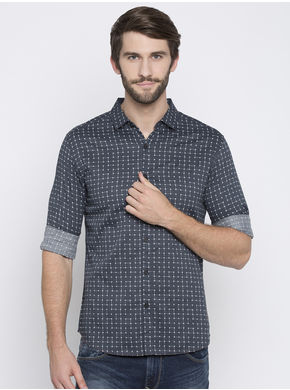 Spykar Prints Slim Fit Shirts,  grey, xl