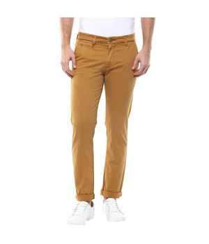 Solid Flat Front Trousers, 36,  khaki
