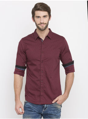 Spykar Printed Slim Fit Shirts, l,  wine