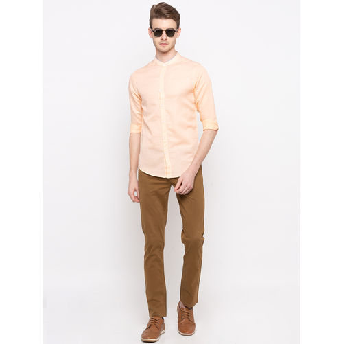Spykar Mandarin Collar Slim Fit Shirts