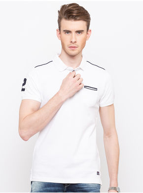 Spykar Polo Collar Slim Fit T-Shirts,  white, xl